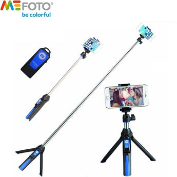 Mefoto MK10 Mini Mobile Tripod For phone, Gopro, Camera Bluetooth Control Selfie Stick Tripod Blue