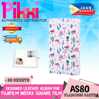 Pikxi AS80 80-Sheet Photo Album for Fujifilm Instax Square Instant Camera Leather Flamingo Cactus Flowers