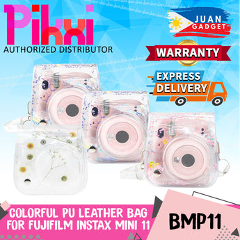 Pikxi BMP11 Fujifilm Instax Mini 11 PU Leather Camera Case Bag with Shoulder Strap Protective Case (Clear Designs)