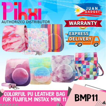 Pikxi BMP11 Fujifilm Instax Mini 11 PU Leather Camera Case Bag with Shoulder Strap (Colorful Pattern Designs)