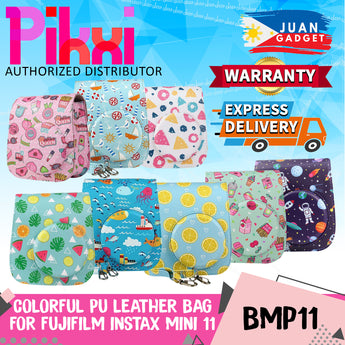Pikxi BMP11 Fujifilm Instax Mini 11 PU Leather Camera Case Bag with Shoulder Strap (Fun & Playful Designs)