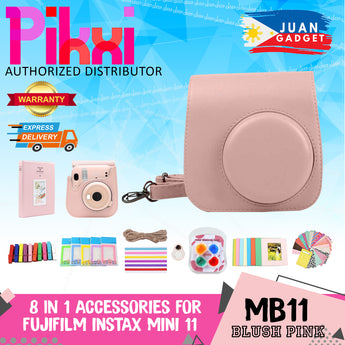Pikxi Fujifilm Instax Mini 11 8 in 1 Set Leather Bag Photo Album with Stationery