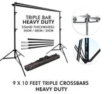 Pxel LS-BD2.8X3 HD 3B Heavy Duty Backdrop Muslin Stand 2.8M x 3M Triple Crossbar 9x10 Feet