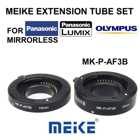Meike MK-P-AF3B Auto Focus Macro Extension Tube Set Ring For Panasonic Olympus Lumix Micro Camera DSLR