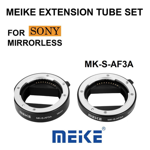 Meike MK-S-AF3A Metal Auto Focus Macro Extension Tube 10mm 16mm for Sony Mirrorless a6300 a6000 a7 a7SII NEX E-Mount Camera etc.