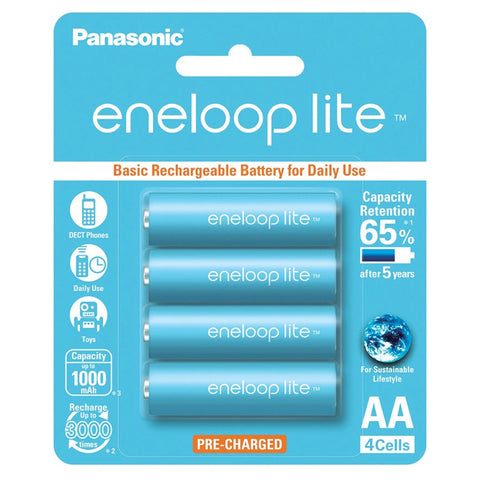 Panasonic Eneloop Lite BK-3LCCE-4BT AA Rechargeable Battery Pack of 4 (Light Blue)