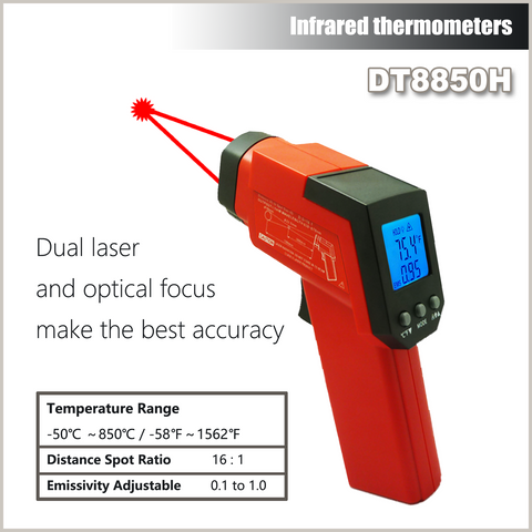 Cheerman DT8850H -50 to 850C Infrared Thermometer Non Contact with Battery