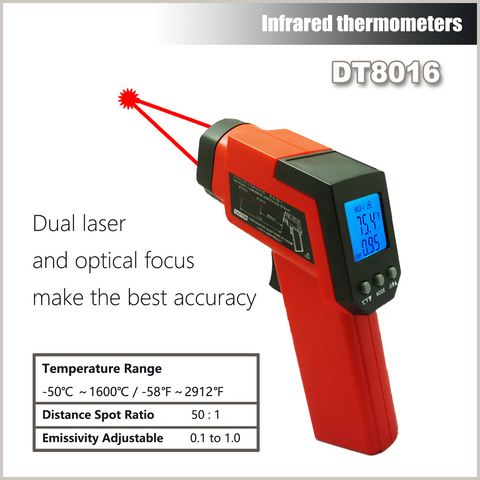 Cheerman DT8016 -50 to 1600C Infrared Thermometer Non Contact with Battery