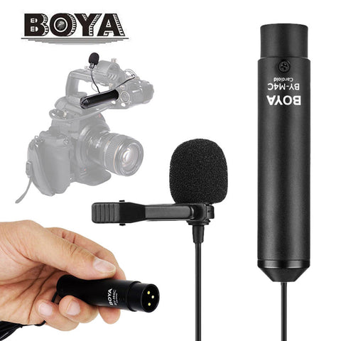 Boya BY-M4C Professional Cardioid Clip-On XLR Lavalier Microphone for Sony Canon Panasonic Camcorders Zoom Audio Recorders