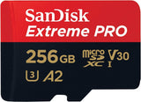 Sandisk Extreme Pro Micro SD Card 256 GB UHS-II SDHC Class 10 100mb/s SDSQXCZ-256G w/Adapter