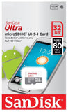 Sandisk Ultra 32GB Micro SD Card UHS-I SDHC Class 10 80MB/s SDSQUNS (w/o Adapter)