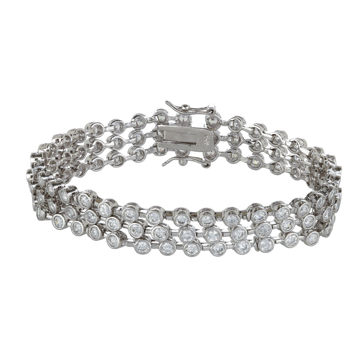 3 Row Bezel Set Tennis Bracelet - The Firestone Collection - Fashion Jewelry & Accessories