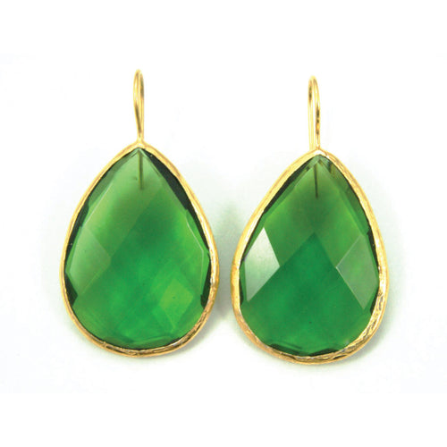 Boho Facet Cut Drops - Green Agate