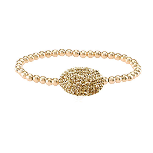 CAVIAR OVAL PAVE DISC STRETCH BEAD  BRACELET