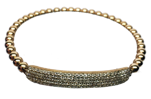 CAVIAR  6 ROW FLAT BAR PAVE STRETCH BEAD BRACELET