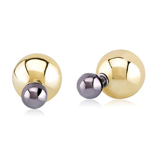 Double Bubble Stud Earrings - Gold / Black Rhodium