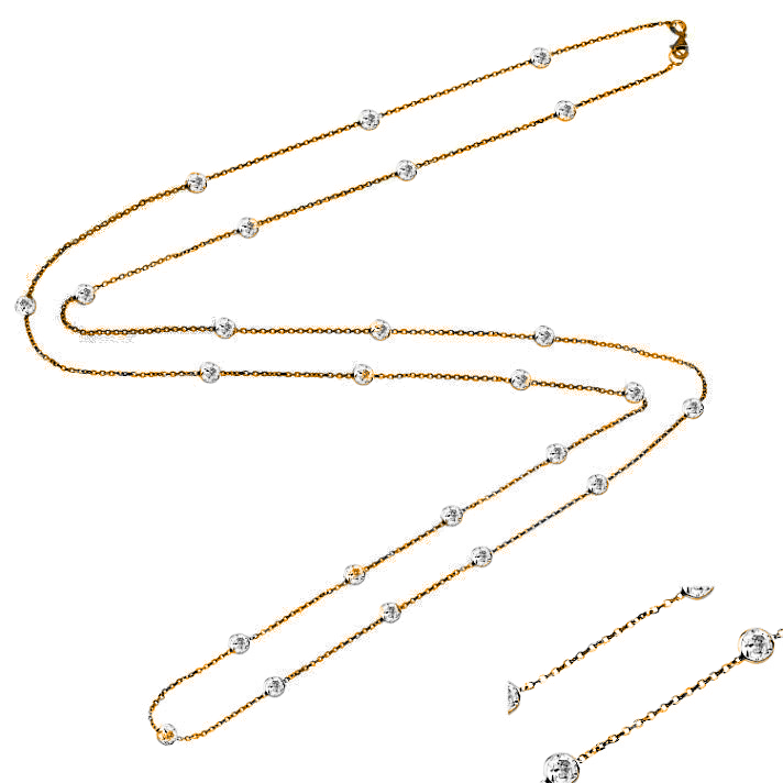Classic White Diamond Station Necklace - The Firestone Collection - Fashion Jewelry & Accessories