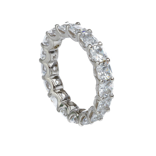 Cushion Cut Claw Set Eternity Band - White Gold