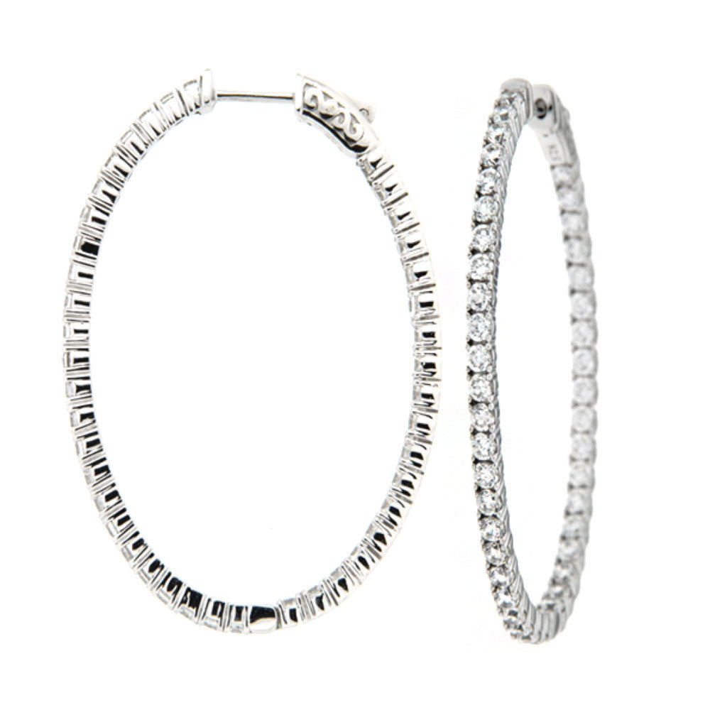 Oval Sparkle Inside Out Hoops - The Firestone Collection - Fashion Jewelry & Accessories