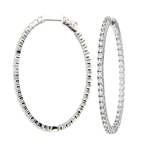 Oval Sparkle Inside Out Hoops