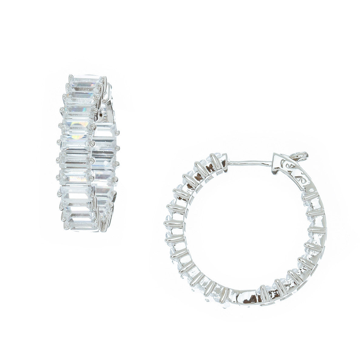 Emerald Step Cut Hoop Earrings - The Firestone Collection - Fashion Jewelry & Accessories