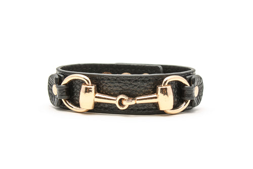 Horsebit Adjustable Snap Leather Bracelet