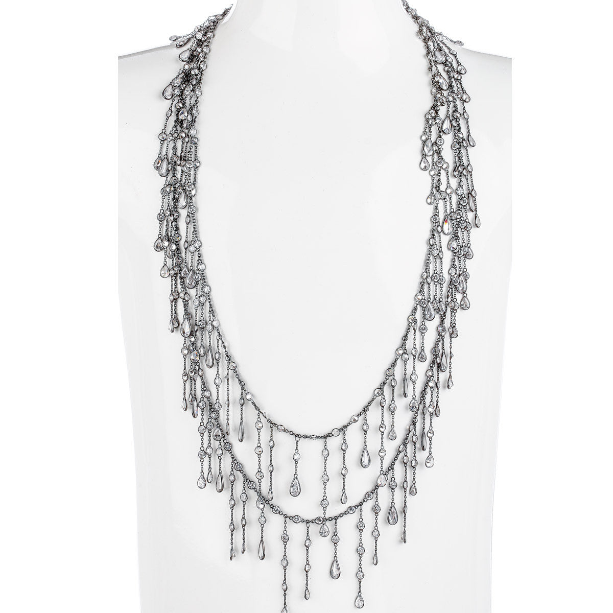 Red Carpet Waterfall Teardrop Necklace - The Firestone Collection - Fashion Jewelry & Accessories