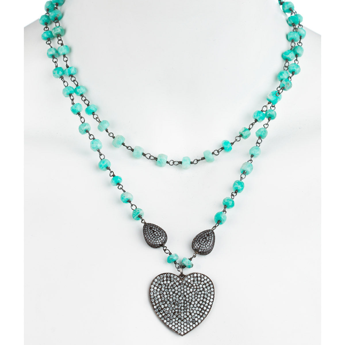 Turquoise Heart Necklace Set - The Firestone Collection - Fashion Jewelry & Accessories