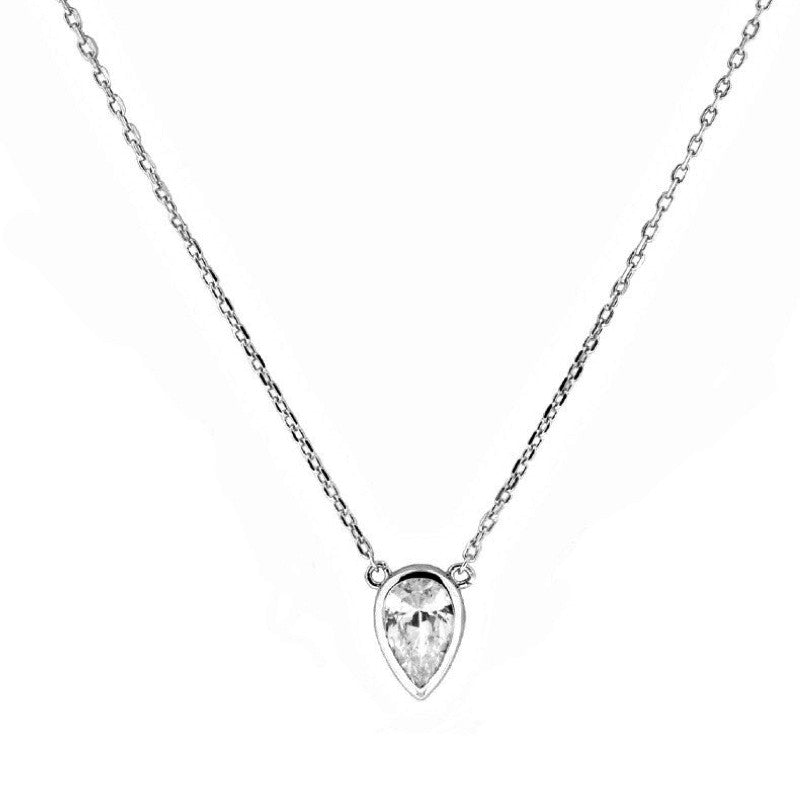 Bezel Pear Solitaire Necklace - The Firestone Collection - Fashion Jewelry & Accessories