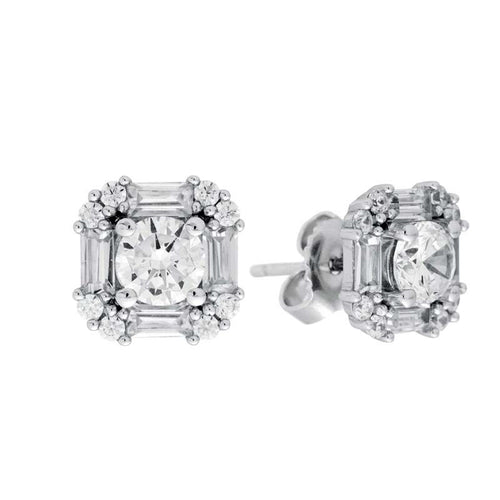 Cushion Baquette Stud Earrings