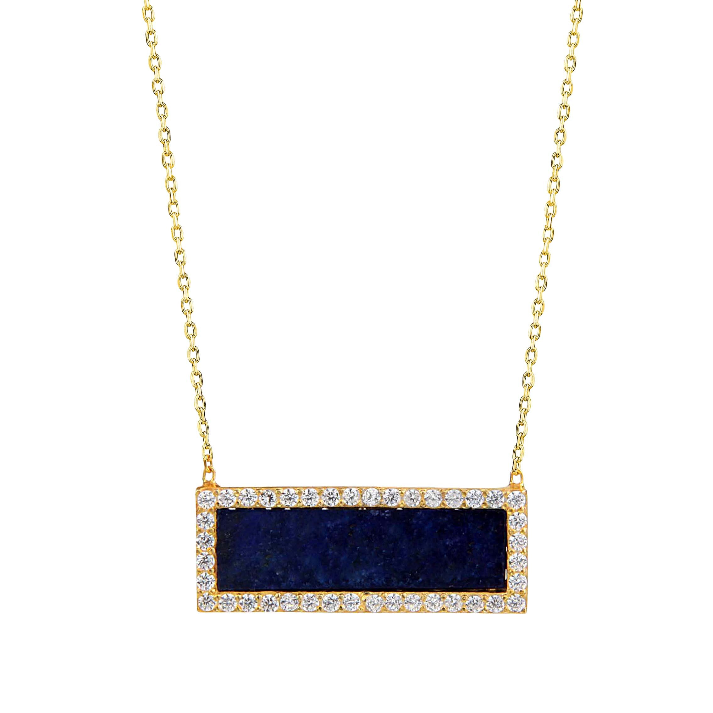 INLAID BAR NECKLACE - The Firestone Collection - Fashion Jewelry & Accessories