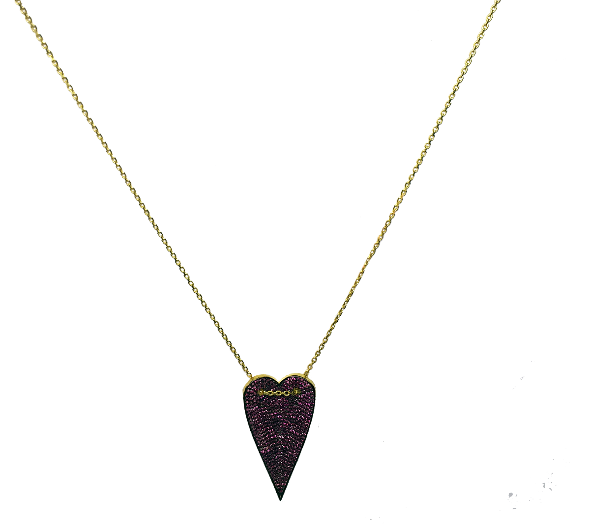 AMORE LARGE PAVE HEART NECKLACE - The Firestone Collection - Fashion Jewelry & Accessories