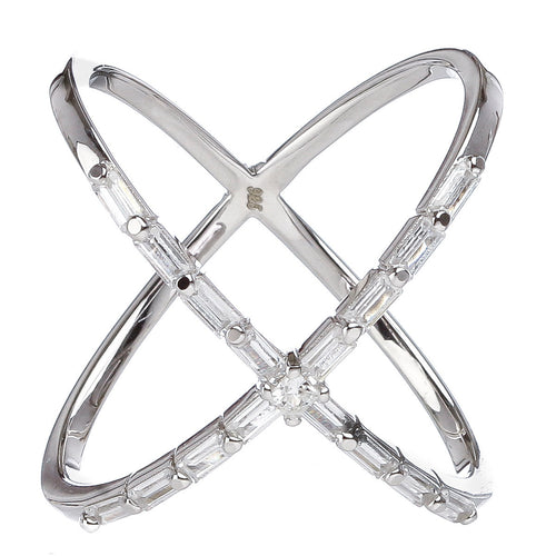 Baguette Criss Cross Ring
