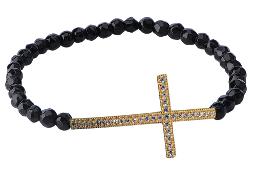 SIDEWAYS STRETCH LARGE CROSS BRACELET