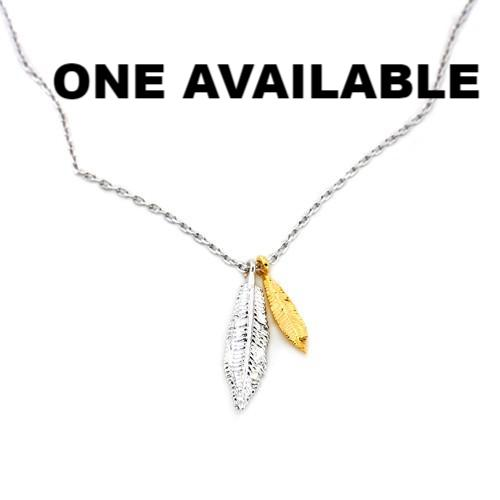 Double Feather Charm Necklace - The Firestone Collection - Fashion Jewelry & Accessories