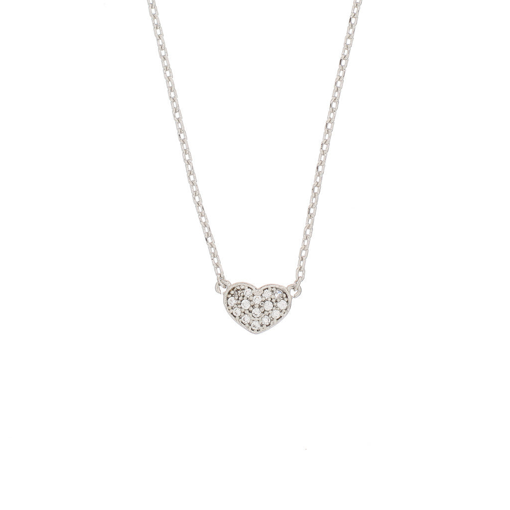 Pave Tiny Heart Charm Necklace - The Firestone Collection - Fashion Jewelry & Accessories