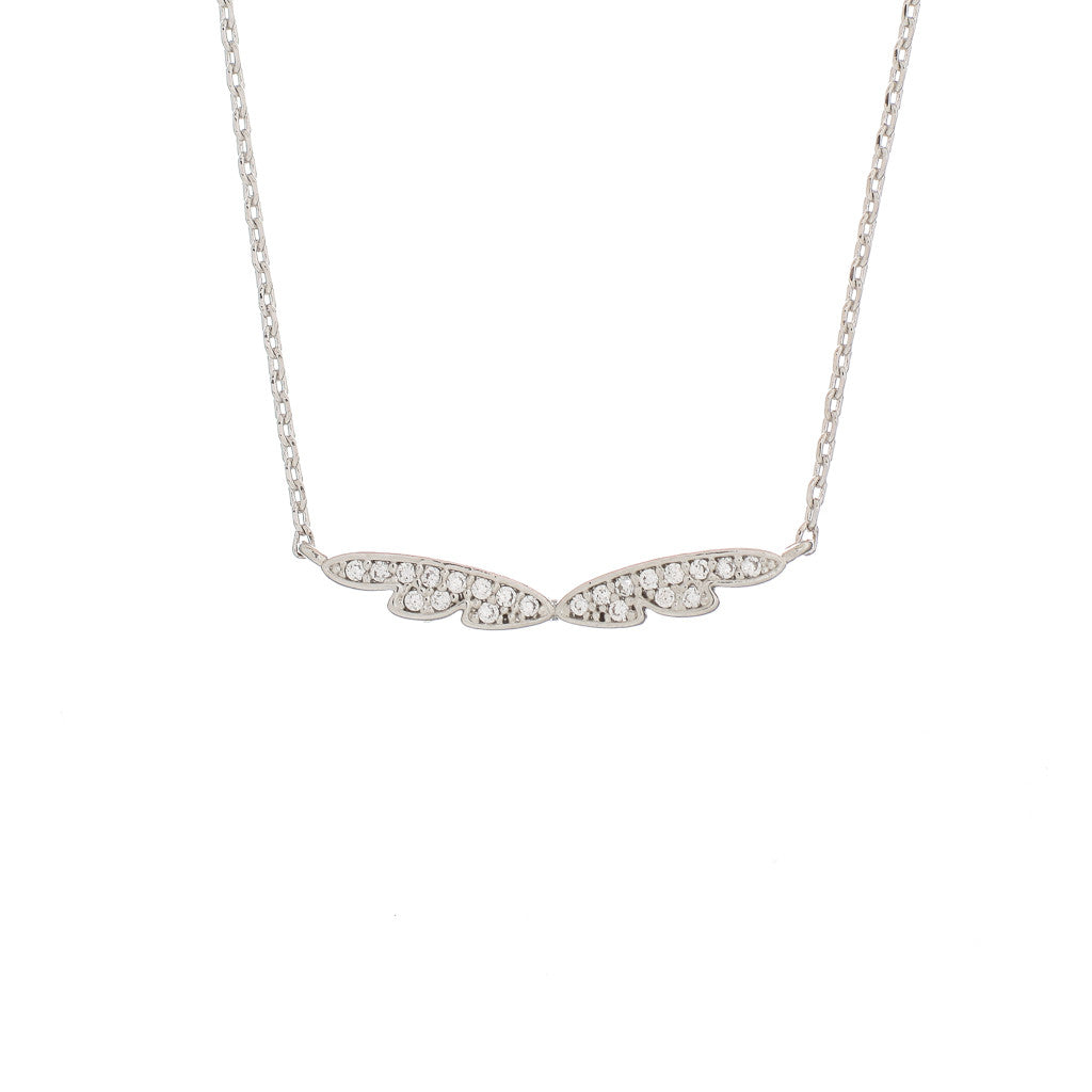 Pave Tiny Wings Charm Necklace - The Firestone Collection - Fashion Jewelry & Accessories