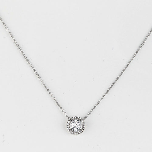Bezel Detail Solitaire Necklace