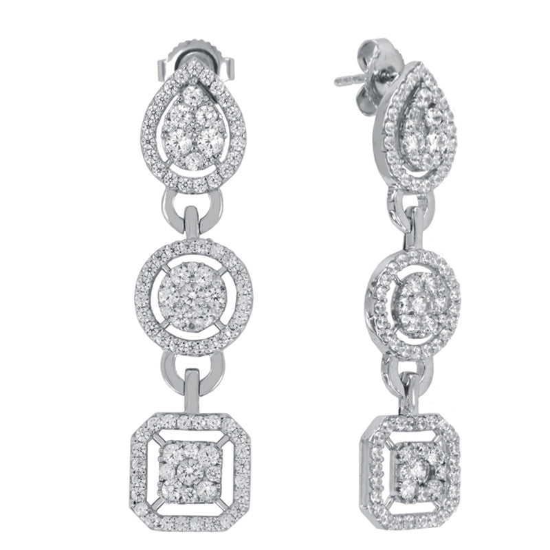 Catherine Pave Drop Earrings - The Firestone Collection - Fashion Jewelry & Accessories