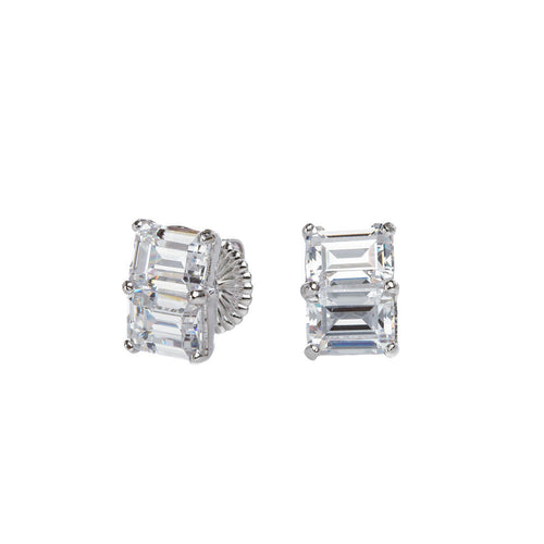 Double Emerald Step Cut Stud Earrings