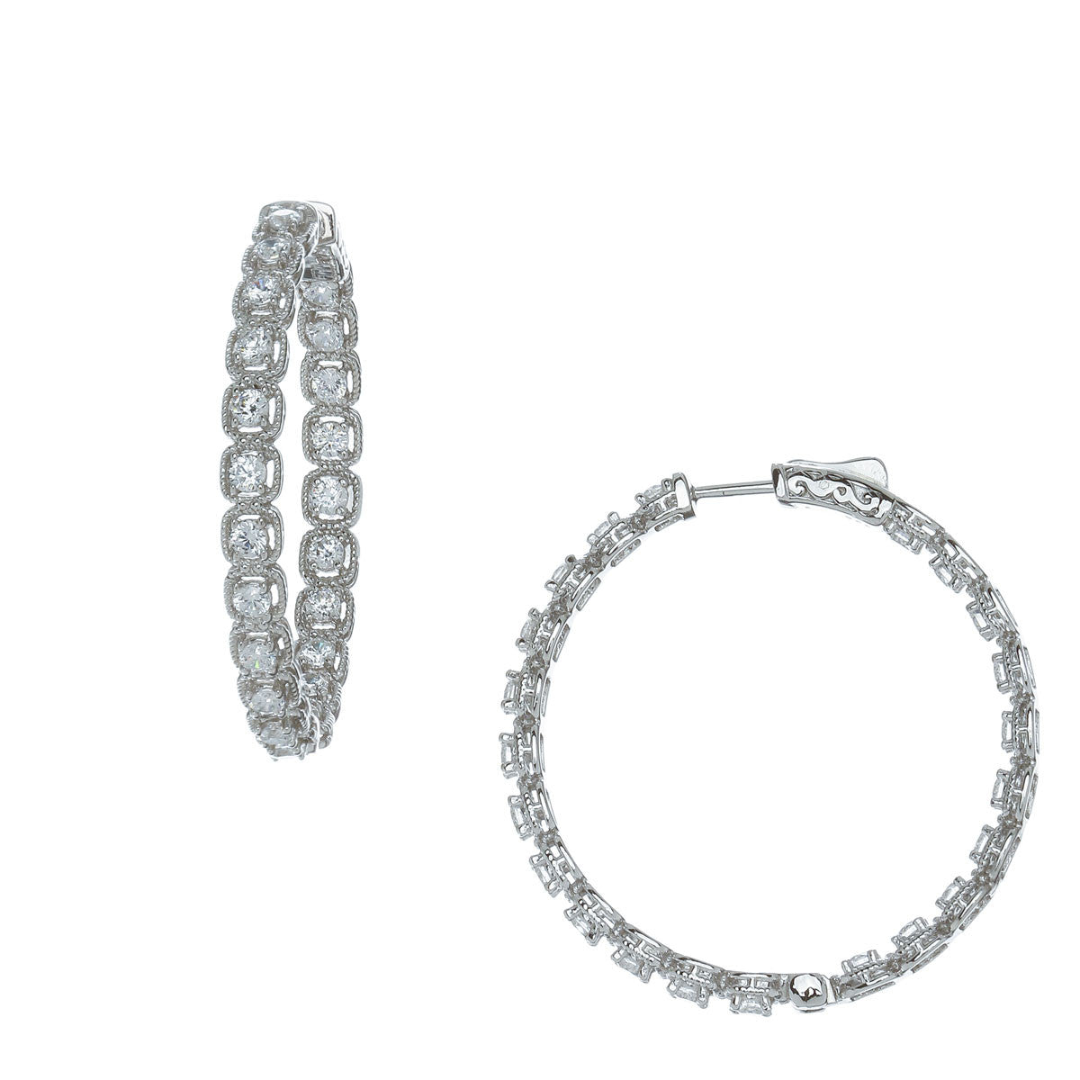Halo Brilliant Cut Hoop Earrings - The Firestone Collection - Fashion Jewelry & Accessories
