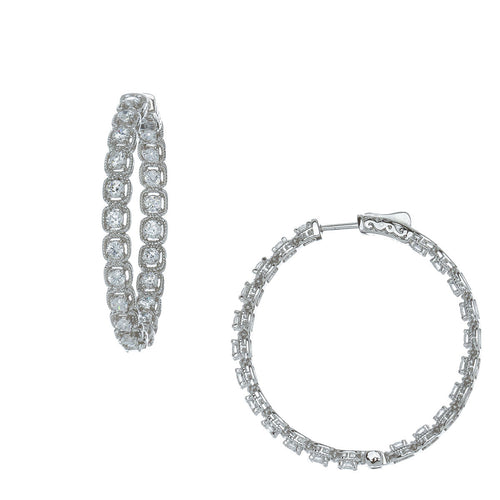 Halo Brilliant Cut Hoop Earrings