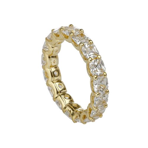Cushion Cut Claw Set Eternity Band - Yellow Gold
