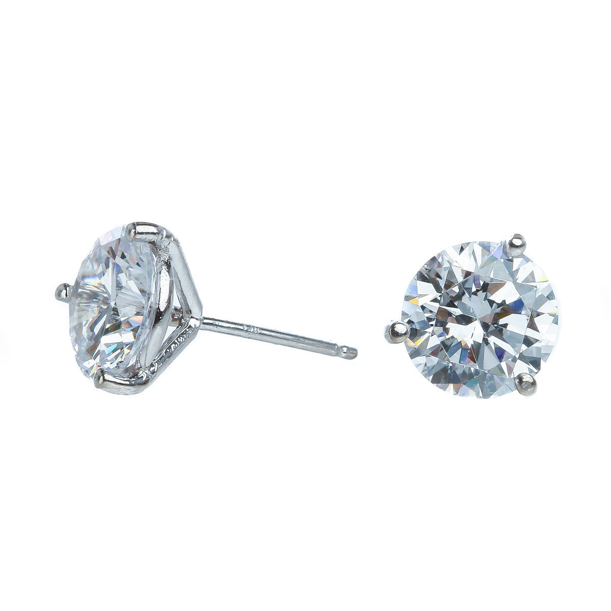 Martini Stud Earrings - 14K white gold - The Firestone Collection - Fashion Jewelry & Accessories