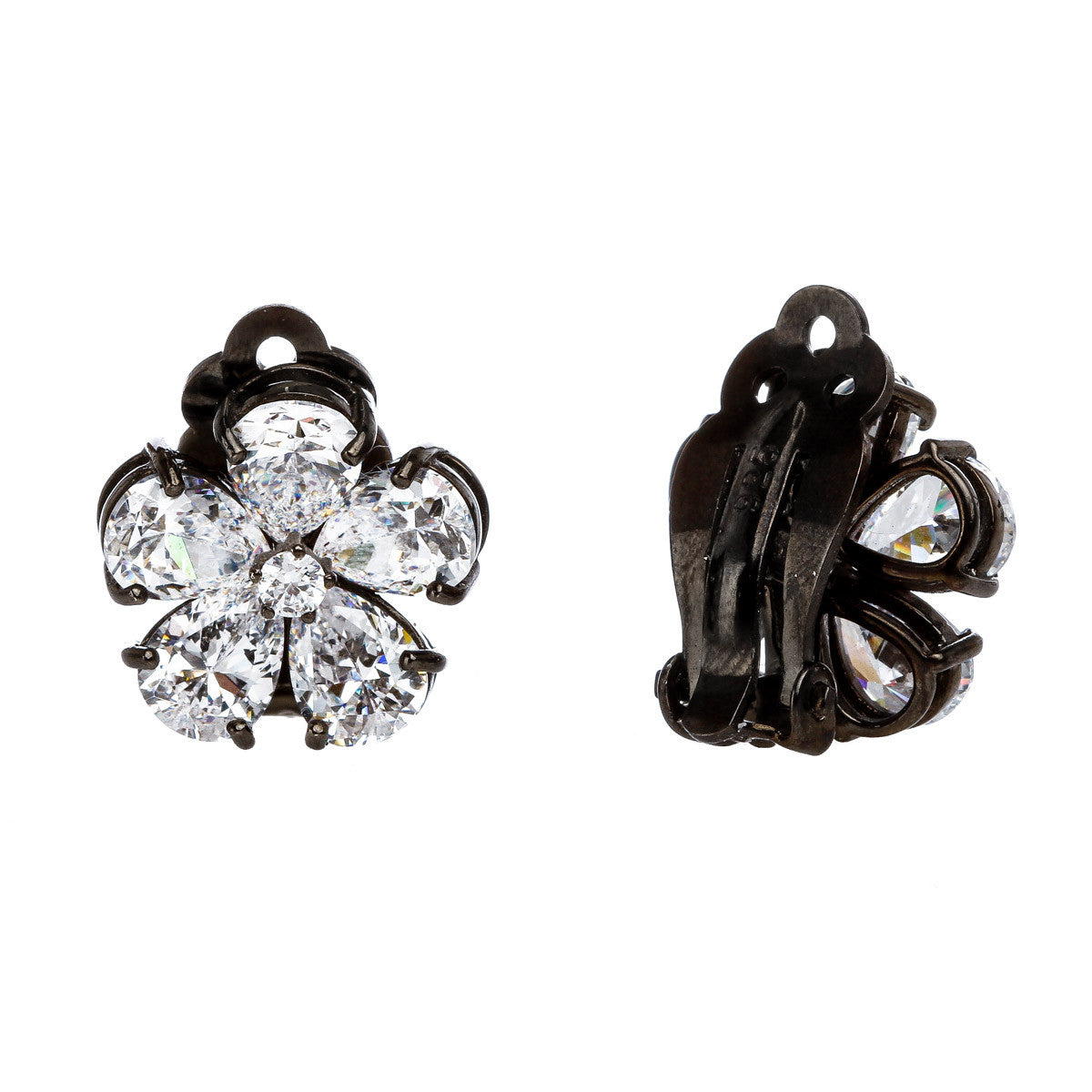 Flower Sparkle Clip Stud Earring - The Firestone Collection - Fashion Jewelry & Accessories
