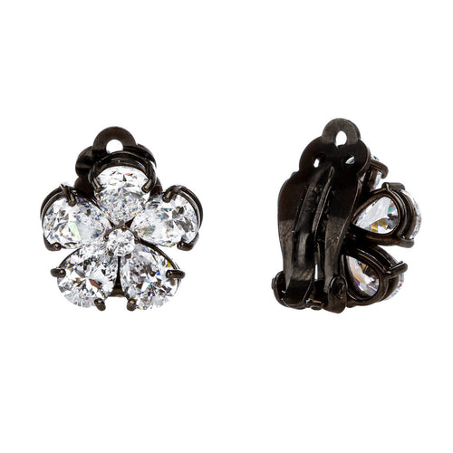 Flower Sparkle Clip Stud Earring