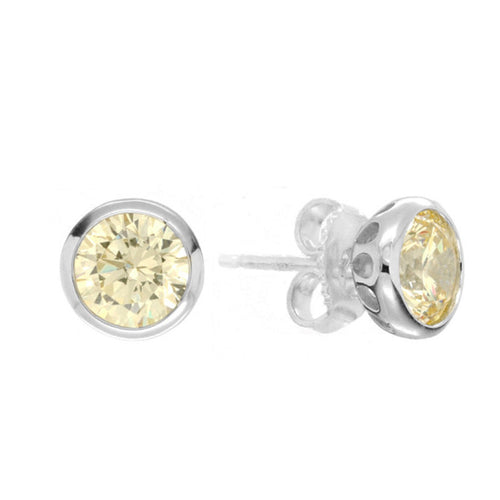 Everyday Studs Round Bezel - Fancy Yellow