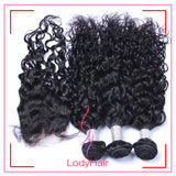 Brazilian Natural Wave 3 Bundles With 1 4x4 Lace Closure Human Hair-lodyhair