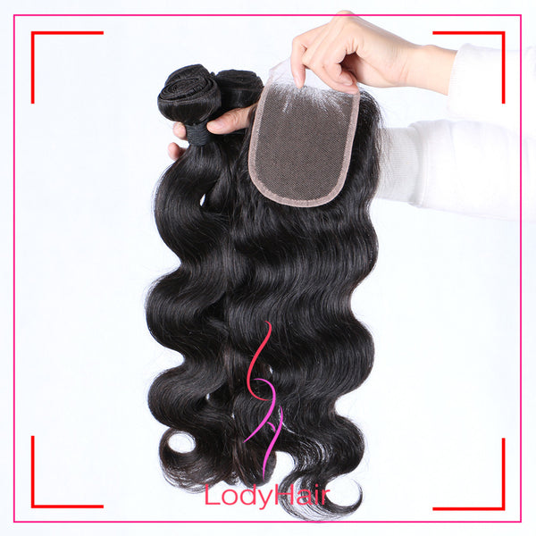 Brazilian Body Wave 3 Bundles With 1 4x4 Lace Closure Human Hair-lodyhair