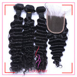 Brazilian Deep Wave 3 Bundles With 1 4x4 Lace Closure Human Hair-lodyhair